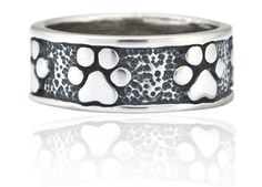 Sterling silver never ending paw print ring.
