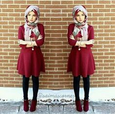 short-maroon-dress-with-ankle-boots-hijab- Smart and cute hijab outfits http://www.justtrendygirls.com/smart-and-cute-hijab-outfits/
