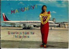 Philippine Airlines at Manila International Airport. Vintage Travel Posters, Vintage Postcards, Vintage Photos, Philippine Air, Phillipines Travel, Filipino Culture, Baguio, Historical Pictures, Manila