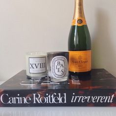 Bedside situation. Can't wait to burn this new candle by @recendonewyork smells like bubblegum! #recendonewyork #diptyque #veuveclicquot #carineroitfeld