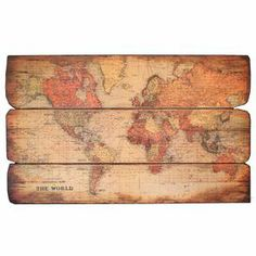 "Antiqued wood Old World wall map.    Product: Wall decor    Construction Material: Wood    Color: Multi     Dimensions: 28.66"" H x 47.25"" W x 1.2"" D"