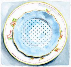 Still Life Kitchen Decor of Original Watercolor Painting -- Vintage Plates 3. $25.00, via Etsy.