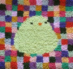 happy cute bird - latch hook rug kit. $50.00, via Etsy. I like the little squares of color