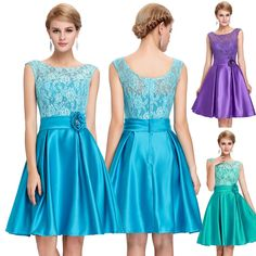 Summer Short Lace Party Ball Mini Evening Cocktail Dress Formal Bridesmaid Gown #GraceKarin #BallGown #Cocktail