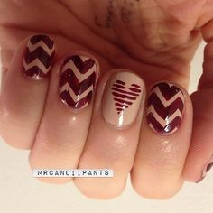 Autumnal heart and zigzags nail art