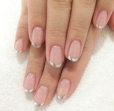 Pin by Lori Lombardi on Nails in 2019 Gelish Nails, Nail Manicure, Nails Polish, Hot Nails, Hair And Nails, Gorgeous Nails, Pretty Nails, French Tip Nails, Gold Tip Nails