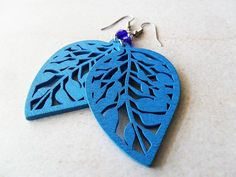 Blue Wooden Leaf Earrings with Cobalt Glass Beads