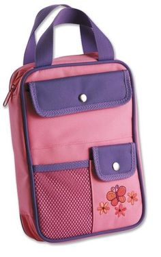 Made from a durable canvas material, this book and Bible cover provides several exterior pockets, a large interior compartment with pen and pencil holders, and handles for easy carrying.  There is also a butterfly embroidery design on the front panel that will appeal to girls.