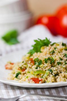 Quinoa Tabbouleh. I need healthy lunch ideas to take to school with me.