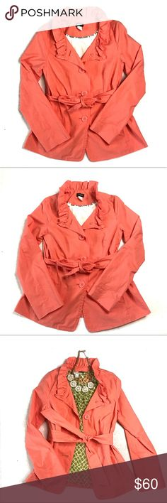 Papaya J. Crew Frenchie Slicker Size 0 Papaya J. Crew Frenchie Slicker Size 0 The perfect lightweight jacket for spring showers. Cotton. Classic fit. Straight shape. Ruffle trim at collar and cuffs. Bracelet sleeves. Self belt. On-seam pockets. Interior piping. Falls to low hip. Import. Machine wash. -Featured on J'adore this Store -Pastel Orange -Lightweight Jacket  -Ruffled Collar  -3 buttons  -Can be worn with collar open or closed  -Shell & Body Lining: 100% cotton, Sleeve Lining: 100%…