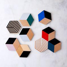 Optic Table Tile Coasters (Set of Marble Coasters, Wooden Coasters, Coaster Design, Coaster Set, Diy Tile Backsplash, Coaster Crafts, Tile Tables, Simple Shapes, Diy Wood Projects