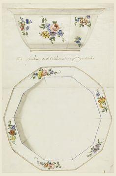 Drawing, Design for a Painted Porcelain Salad Bowl, for Sèvres Porcelain Manufactory, ca. 1763