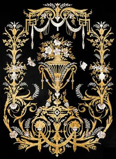 Indian ornaments and design elements vector French Rococo, Rococo Style, Textile Prints, Textile Patterns, Decoupage, Baroque Pattern, Art Store, Arabesque, Islamic Art