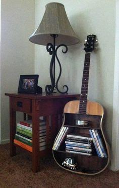 DIY cute guitar shelf - books, dvds, cds storage - - unique and fun shelving #shelving