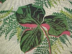 Vintage Antique Cotton Printed Barkcloth Fabric Atomic Tropical 1950s