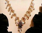 Vintage Inspired  AB and champagne Floral Swartzski Crystal Necklace