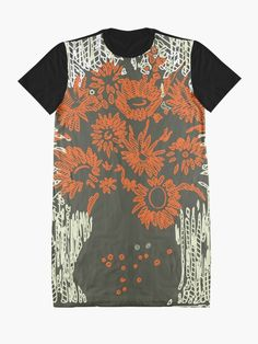 """""""Red Flowers"""" Graphic T-Shirt Dress by jaggerstudios Funky Outfits, Shopping Center, Red Flowers, Shirt Dress, T Shirt, Wearable Art, Flower Power, Chiffon Tops, Online Shopping"""