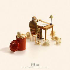 """. 5.18 wed """"Waste Paper"""" . はじけろ発想! . #ポップコーン #紙クズ #Popcorn #WastePaper . . ーーーーーーーーー #写真集第2弾発売中 #MiniatureLife2 #ミニチュアライフ2 #詳しくはプロフィールのURLから ."""