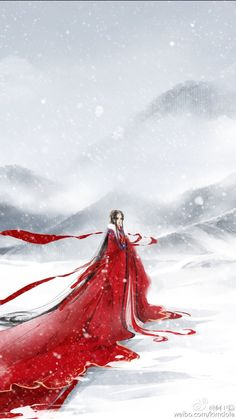chinese illustration, red woman snowy background
