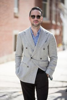 striped shirt blazer outfit men - Google Search Blazer Outfits Men, Cotton Suit, Double Breasted Blazer, Linen Blazer, Oliver Peoples, Tweed, Suit Jacket, Suits, Cairo