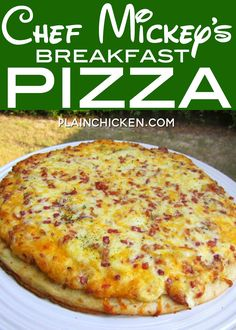 Chef Mickey& Breakfast Pizza recipe from Walt Disney World quick and easy breakfast pizza ready in 10 minutes! Premade pizza crust topped with eggs, heavy cream, mozzarella, provolone, cheddar and bacon Great weekday breakfast! Breakfast Dishes, Breakfast Time, Best Breakfast, Breakfast Casserole, Breakfast Recipes, Breakfast Ideas, Bacon Breakfast Pizza Recipe, Caseys Breakfast Pizza, Chicken Breakfast