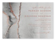 Rose Gold   Granite Wedding Invitations from Minted Graduation Thank You Cards, Graduation Party Invitations, Foil Stamped Wedding Invitations, Watercolor Wedding Invitations, Puzzle Shop, Gray Weddings, Personalized Stationery, Invitation Design, Petra