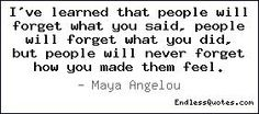 I've learned that people will forget what you said, people will forget ...