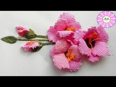 Amazing 3d gladiolus hand embroidery   Creative Ideas - YouTube Hand Embroidery Videos, Embroidery Stitches Tutorial, Hand Embroidery Flowers, Flower Embroidery Designs, Embroidery Patterns, Creative Embroidery, Brazilian Embroidery, Ribbon Art, Crochet Flowers