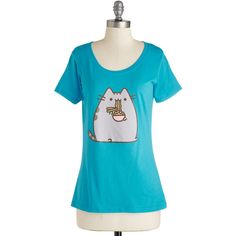 Cats Mid-length Short Sleeves Kitten Ka-noodle Tee (82 PEN) ❤ liked on Polyvore featuring tops, t-shirts, shirts, blue, apparel, graphic tee, cat shirt, scoop neck t shirt, t shirts and short sleeve t shirts