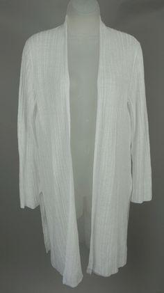 Eileen Fisher Black Merino Wool Open Front Long Sleeve Cardigan ...