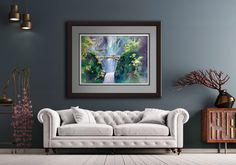 Multnomah Falls, Oregon's tallest waterfall, is located just a short drive east of Portland in the Pacific northwest's Columbia River Gorge. This is a watercolor print by Michael David Sorensen. Watercolor Print, Watercolor Paper, Oregon Waterfalls, Multnomah Falls, Thing 1, Pastel Blue, Texture Painting, Modern Room, Fine Art Paper