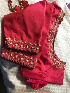 25 Dashing Red Work Blouse designs to try for your wedding - Wedandbeyond Pattu Saree Blouse Designs, Blouse Designs Silk, Wedding Saree Blouse Designs, Designer Blouse Patterns, Blouse Designs Embroidery, Wedding Blouses, Sari Blouse, Dress Designs, Applique Designs