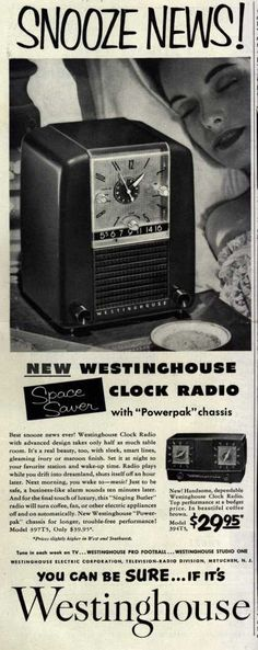 Westinghouse Electric Corporation's Spacer Saver Clock Radio – Snooze News! New Westinghouse Clock Radio (1955)