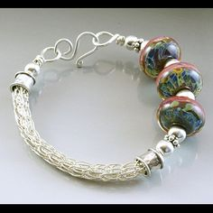 viking knit jewelry | Sterling Silver Viking Knit Bracelet with Lampwork Beads 2 ...