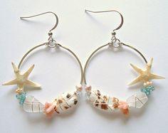 Real Starfish Earrings, Starfish Hoops,  Boho Beach Earrings, Hawaiian Shell Earrings, Mermaid Hoops, Sterling Silver