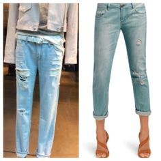 #CAbi - Our design team spotted the jeans on the left at a high-end boutique in Paris. Look at how similar they are to our Deconstructed Brett Jeans on the right. The distressed jeans are for sure a strong trend this spring! We already have our pair, do you? #fashion #denim