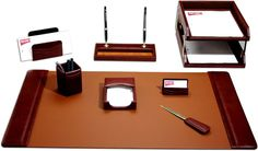 Leather 10-Piece Desk Set D3020 by Decasso