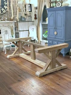 Farmhouse Trestle Table from Reclaimed Barn Wood