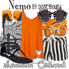 """""""Nemo"""" ~ Based on Pixar's classic Finding Nemo, comes this Spring/Summer casual look inspired by everyone's favorite fish child. Designed by Leslie Kay or also known as the designer of Disneybound outfits. Can be found on Polyvore or her personal shop or tumblr account."""