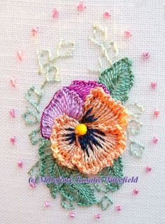 "** ""Pansy"" Brazilian Dimensional Embroidery @ RosalieWakefield-Millefiori"