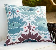 Outdoor Ashton Ikat Print Pillow #potterybarn