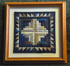 Make some quilt blocks (or mini quilts like this one) and frame in shadow box frames, with or without mats. Very nice wall decoration. Small Quilt Projects, Quilting Projects, Quilting Designs, Quilting Room, Log Cabin Quilts, Barn Quilts, Log Cabins, Small Quilts, Mini Quilts
