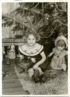 1950s Christmas Photo Cute Little Girl with Doll Pet Cat Sit Under Tree 2655 | eBay