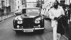 Marvin Gaye walks ahead of his Rolls, London, 1976