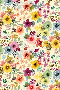 Spring Floral by Angel Gerardo - Colorful watercolor flowers on fabric, wallpaper, and gift wrap. Beautiful hand painted floral pattern with a whimsical twist. Add a pop of pattern with unique fabric, wallpaper & gift wrap. Shop over designs Watercolor Wallpaper, Fabric Wallpaper, Flower Wallpaper, Watercolor Flowers, Painting Flowers, Watercolor Pattern, Floral Pattern Wallpaper, Pattern Painting, Wallpaper Patterns