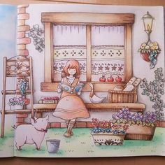 Romantic Country Coloring Book by Eiry