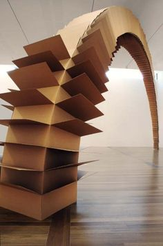 the-art-is-dead: Tobias Putrih - Connection - 2004 Cardboard Sculpture, Cardboard Art, Art Sculpture, Abstract Sculpture, Cardboard Boxes, Contemporary Sculpture, Contemporary Art, Art Is Dead, Instalation Art