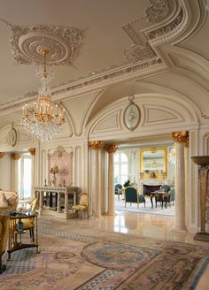 Savonnerie carpet in salon of Palais des Anges, a 35,000 sq ft Beaux Arts mansion in Beverly Hills.