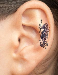 Check out Creative seahorse tattoo or other seahorse ear tattoo designs that will blow your mind, tattoo ideas that will be your next inspiration. New Tattoos, Body Art Tattoos, Small Tattoos, Tatoos, Girl Tattoos, Ladies Tattoos, Inner Ear Tattoo, On The Ear Tattoo, Real Tattoo
