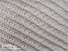 Left Diagonal Slipped Stitch Pattern - great way to add some interesting texture to blankets, washcloths, and pillows.